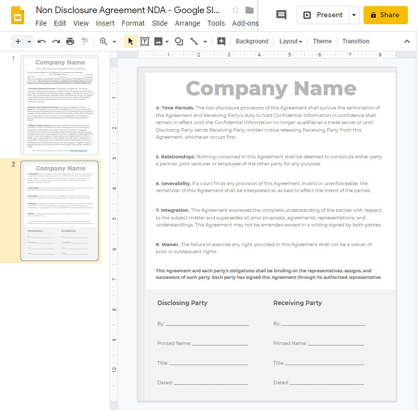 Blank NDA Non Disclosure Agreement in Google Slides Format PDF WORD DOC PPTX ODP SVG