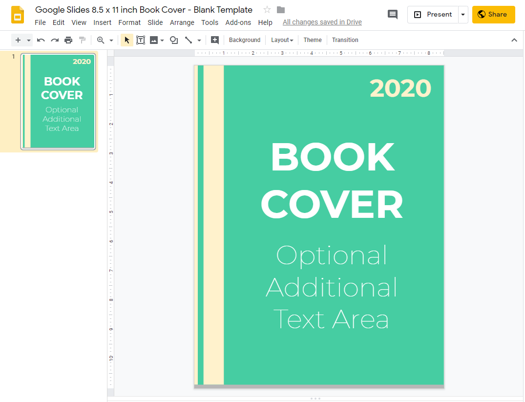 Google Slides 8.5 x 11 inch Book Cover - Blank Template