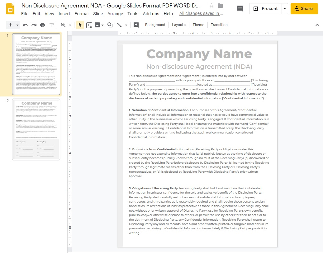 NDA Non Disclosure Agreement Google Slides Format