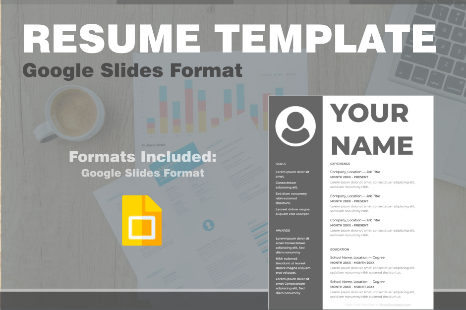 Professional Resume Template in Google Slides - Easily Export to PDF, WORD, DOC, PPTX, ODP Format