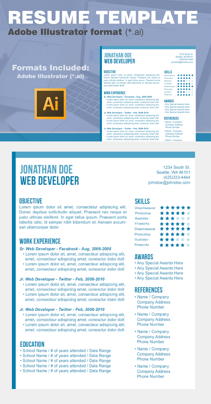 Resume Template Adobe Illustrator 001 preview