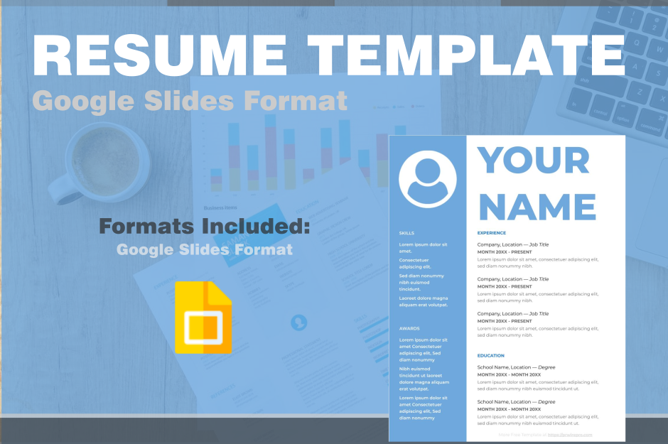 Resume Template in Google Slides - Easily Export to PDF, WORD, DOC, PPTX, ODP Format