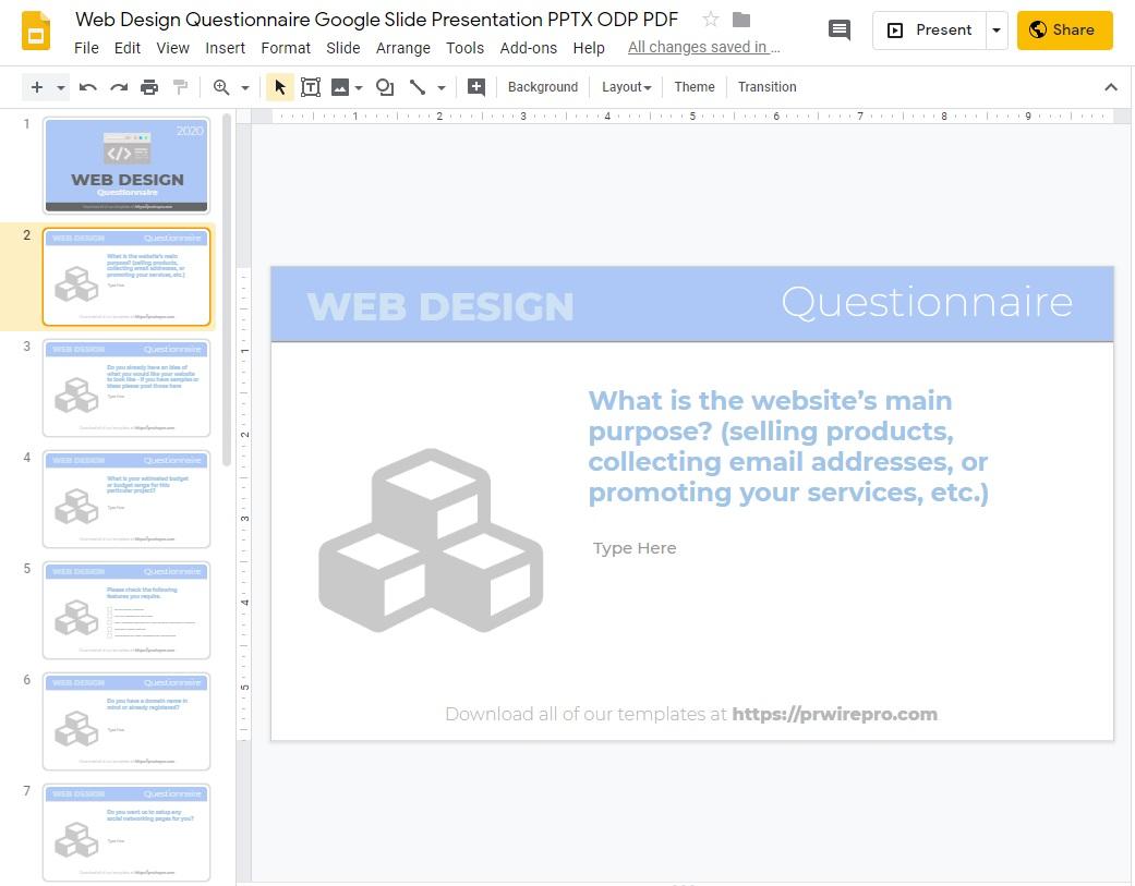 Web Design Questionnaire Blank Template Google Slides Format PDF DOC PPTX ODP SVG