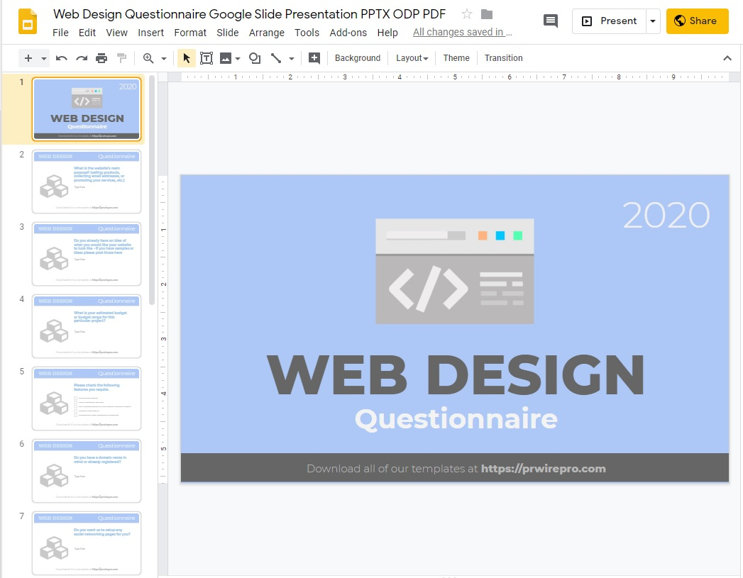 Web Design Questionnaire Blank Template Google Slides Format PDF WORD DOC PPTX ODP SVG