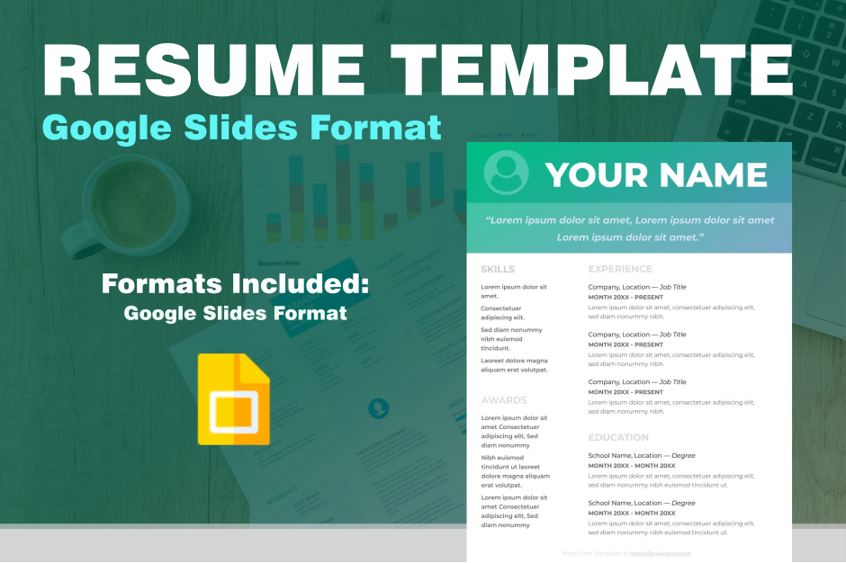 Colorful Resume Template - Google Slides Format - Easily Export to PDF, WORD, DOC, PPTX, ODP Format Preview