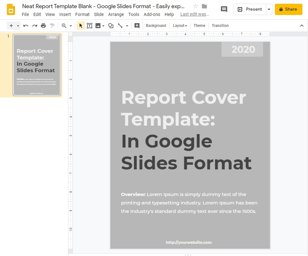 Neat Report Template Blank - Google Slides Format - Easily export any format