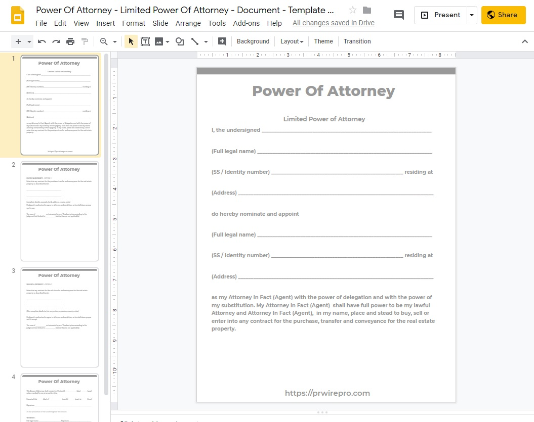 Power Of Attorney - Document - Template Blank - Google Slides Format PDF WORD PPTX ODP
