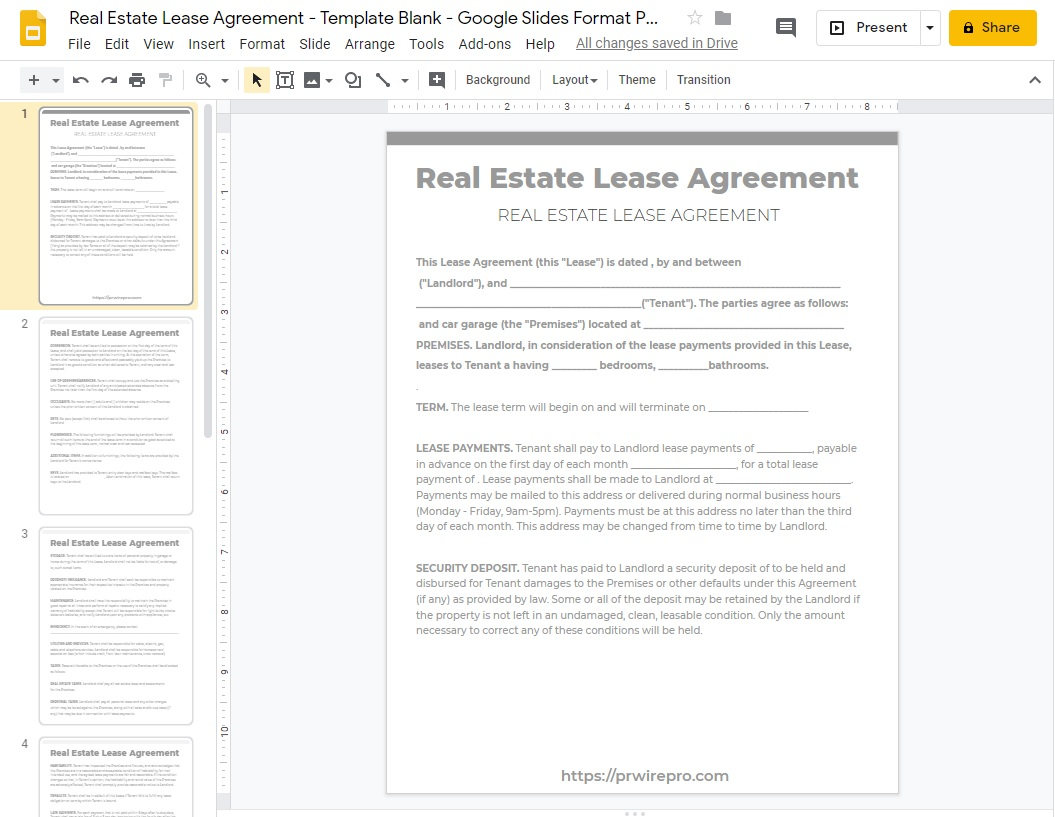 Real Estate Lease Agreement - Template Blank - Google Slides Format PDF WORD DOC PPTX ODP SVG