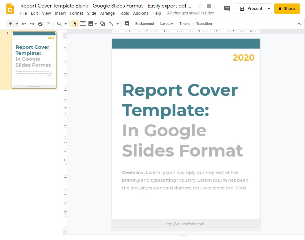 Report Cover Template Blank - Google Slides Format - Easily export pdf, pptx, odp, jpg, svg, or png