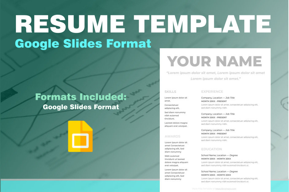Resume Example Free - Google Slides Format - Easily Export to PDF, WORD, DOC, PPTX, ODP Format