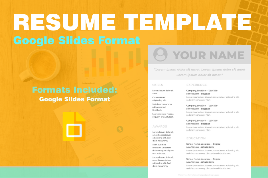 Resume - Google Slides Format - Easily Export to PDF, WORD, DOC, PPTX, ODP Format Preview