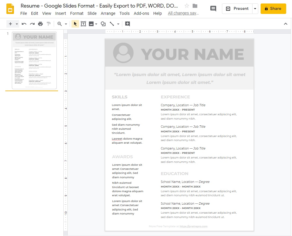 Resume - Google Slides Format - Easily Export to PDF, WORD, DOC, PPTX, ODP Format a