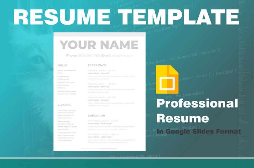 Resume Sample Free Example - Google Slides Format - Easily Export to PDF WORD DOC PPTX ODP Format