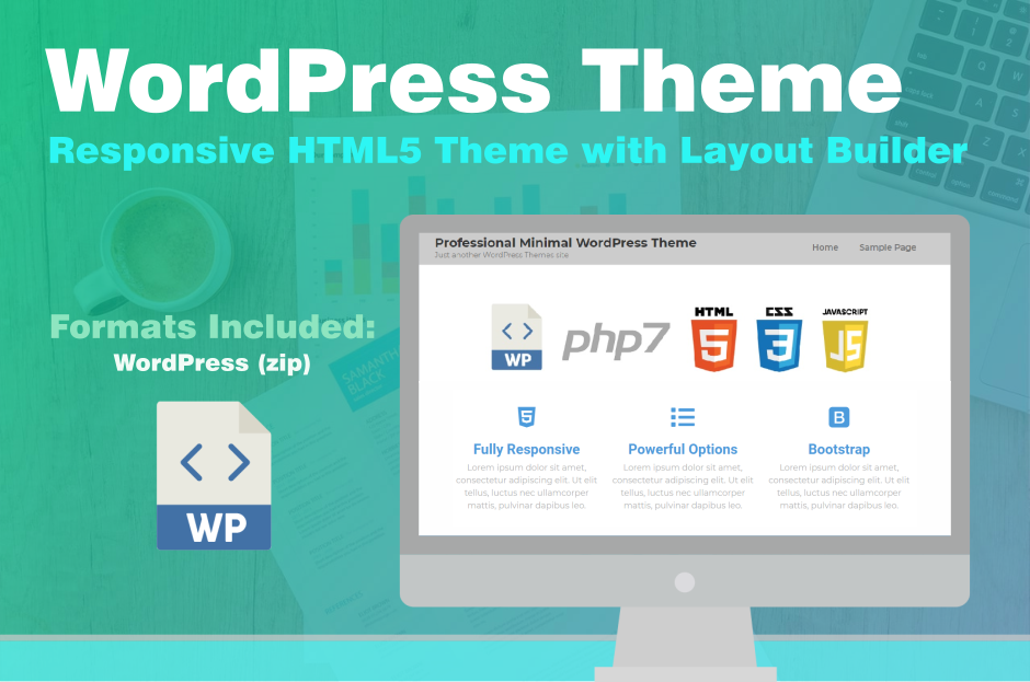 Simple Marketing Responsive WordPress Theme HTML5 CSS3 Template